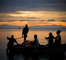 Happy Fishermen, Lake Malawi by Tim Cowley