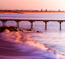 Crashing waves as the sun rises at Beachport by Elana Bailey