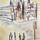 St. Pauls Cathedral Melbourne - Pastel Sketch by CDCcreative