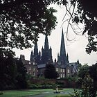 The 3 Sisters Lichfield 1195 1249 from town park Staffordshire England 198406050001 by Fred Mitchell