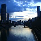 Melbourne's Yarra River at dusk by charlienelson