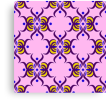 Seamless pattern with purple ornament on the pink background Canvas Print
