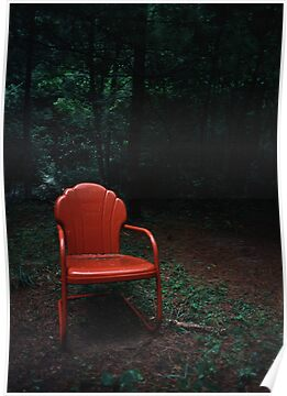 Red Chair in Woods by Jay Gross