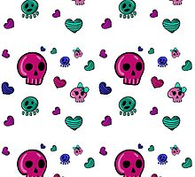 seamless pattern in Emo style with skulls and hearts by Ann-Julia