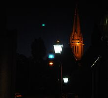 Cathedral light in the evening.  Sacred Heart Cathedral in Bendigo.  by Lozzar Flowers & Art