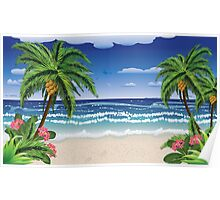 Beach and tropical sea Poster