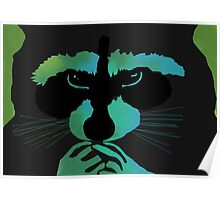 Raccoon in blue/green Poster