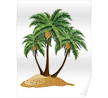 Cartoon island with palms Poster