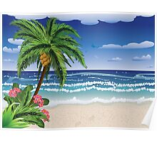 Palm tree on beach 2 Poster
