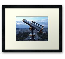 Tower Viewer Telescope on the top of the Eiffel Tower Framed Print
