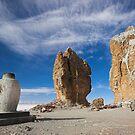 Stupa and Rocky Pinnacles, Lake Nam-Tso, Tibet by Hugh Chaffey-Millar