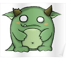 Cute green monster with horns Poster