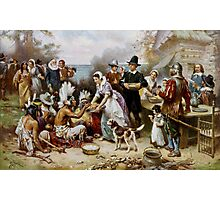 The First Thanksgiving 1621 by Jean Leon Gerome Ferris (1899). Photographic Print
