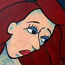 Sad Girl Expressive Abstract Portrait by Pamela Burger