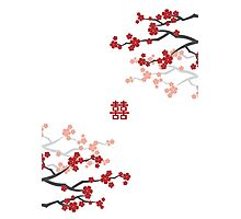 Red Sakura Cherry Blossoms on White & Chinese Wedding Double Happiness Symbol Photographic Print