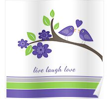Purple, Lime Green, Gray Love Birds and Stripes Poster