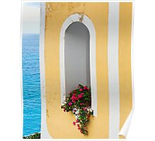 Flower in Window at Seaside Poster