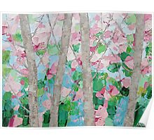 Dancing Cherry Blossom Trees Poster