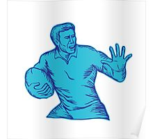 Rugby Player Running Fending Etching Poster