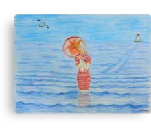 Young girl and sea I Canvas Print