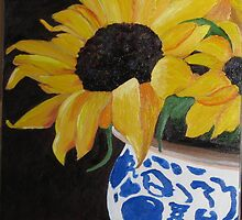 Sunflowers in Chinese Vase by RebeccaW