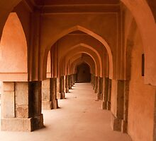 Archways, pillars and the long corridor of an old Baoli in Mehrauli in Delhi in landscape by ashishagarwal74