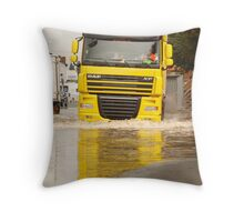 Large DAF articulated lorry driving through summer flash flooding road condition in Britain 2007 Throw Pillow