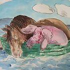 horse and pig at sea by lawrence mcdonell