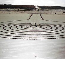 labyrinth, sandart. new brighton, aotearoa by tim buckley | bodhiimages