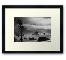 A Stormy Day at Cannon Beach - black & white Framed Print