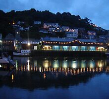Looe harbour at night Cornwall by magichoc