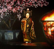 Noh Torchlight Performance Under the Cherry Blossoms by Midori Furze