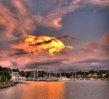 """""""The Longshot"""" - Fire In The Sky - Newport Marina - The HDR Experience by Philip Johnson"""