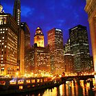 Chicago River at Night by Dennis Granzow