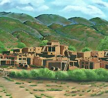 Taos Pueblo New Mexico ~ Oil Painting by Barbara Applegate