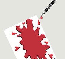 Pen Bleeding On Parchment by Donna Osborn  Clark