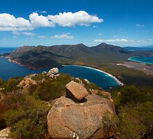 Wineglass Bay, seen from Mount Amos, Freycinet National Park, Tasmania by Roger Barnes