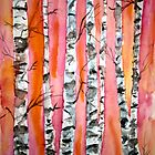 birch tree watercolor painting by derekmccrea
