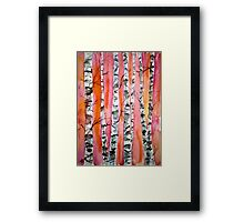 birch tree watercolor painting Framed Print