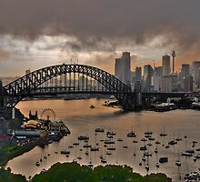 Brooding - Sydney Harbour - Moods Of  A CIty - The HDR Experience by Philip Johnson