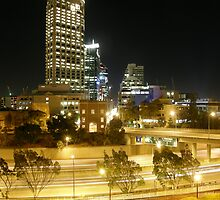 Over Looking Baracks Arch, The Mitchell Freeway & St Georges Terrace From Parliment House. West Perth. by m004