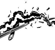 F86 Sabre Jet explosion by krayola