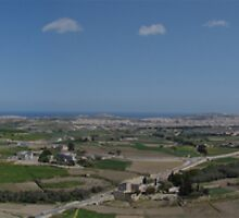 A view o Mosta, Mtarfa and the surroundings from Mdina bastions by Elvio Spiteri