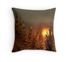 Feather Dew at Dawn Throw Pillow