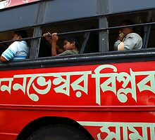 Political slogan on a Kolkata bus by Shubhrajit Chatterjee