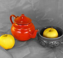 red teapot and golden apples by jean-louis bouzou