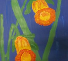 Yellow Daffodils on Blue by Alison Pearce