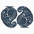 Paisley Blue Bird Sticker & Tshirt by Jane McDougall