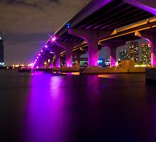 MacArthur Causeway at Night by Diego Texera