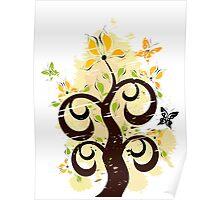 Grunge floral ornament Poster